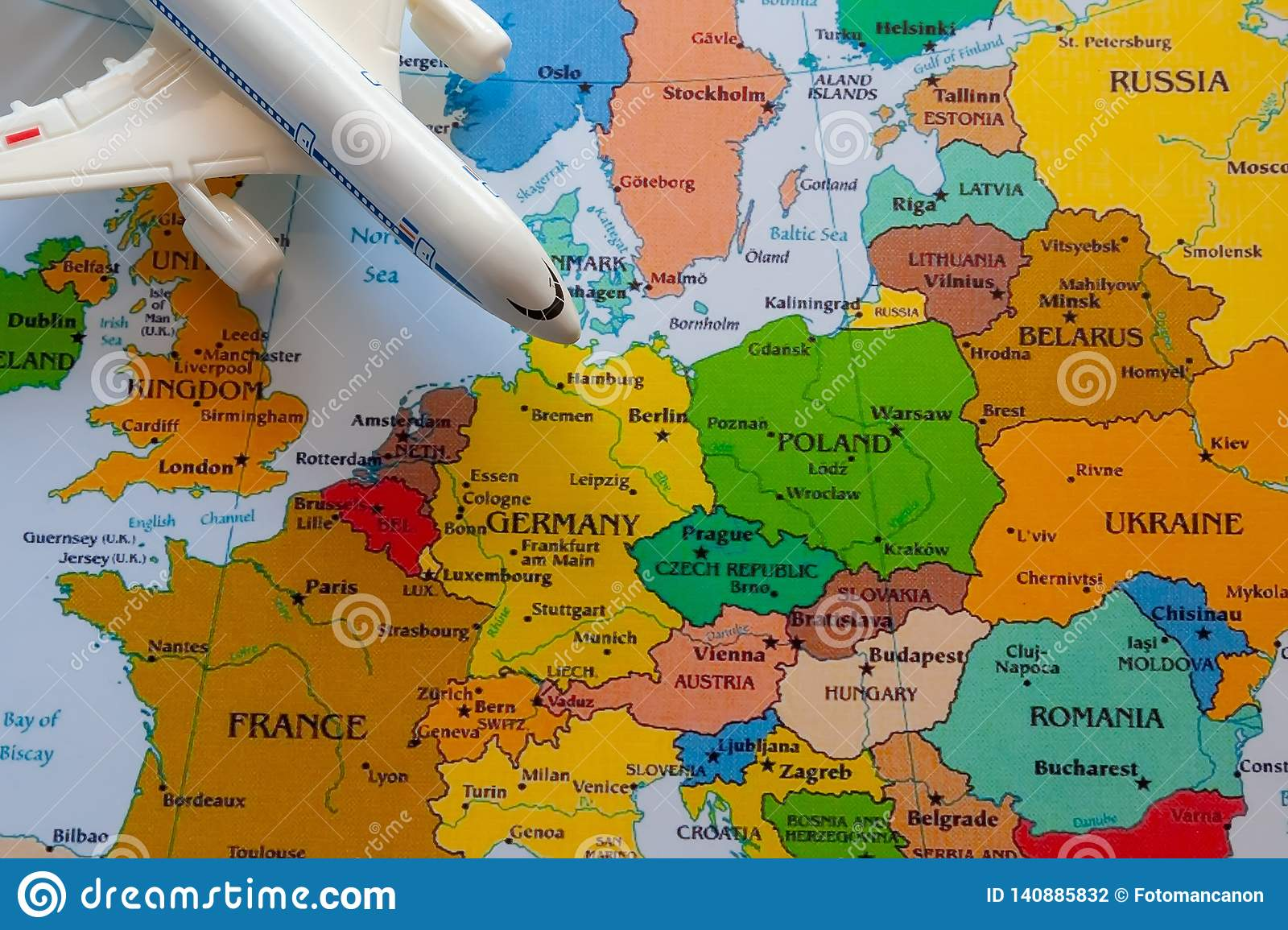 Tourist Map Of Europe With Boeing For Travel Stock Photo - Image of on