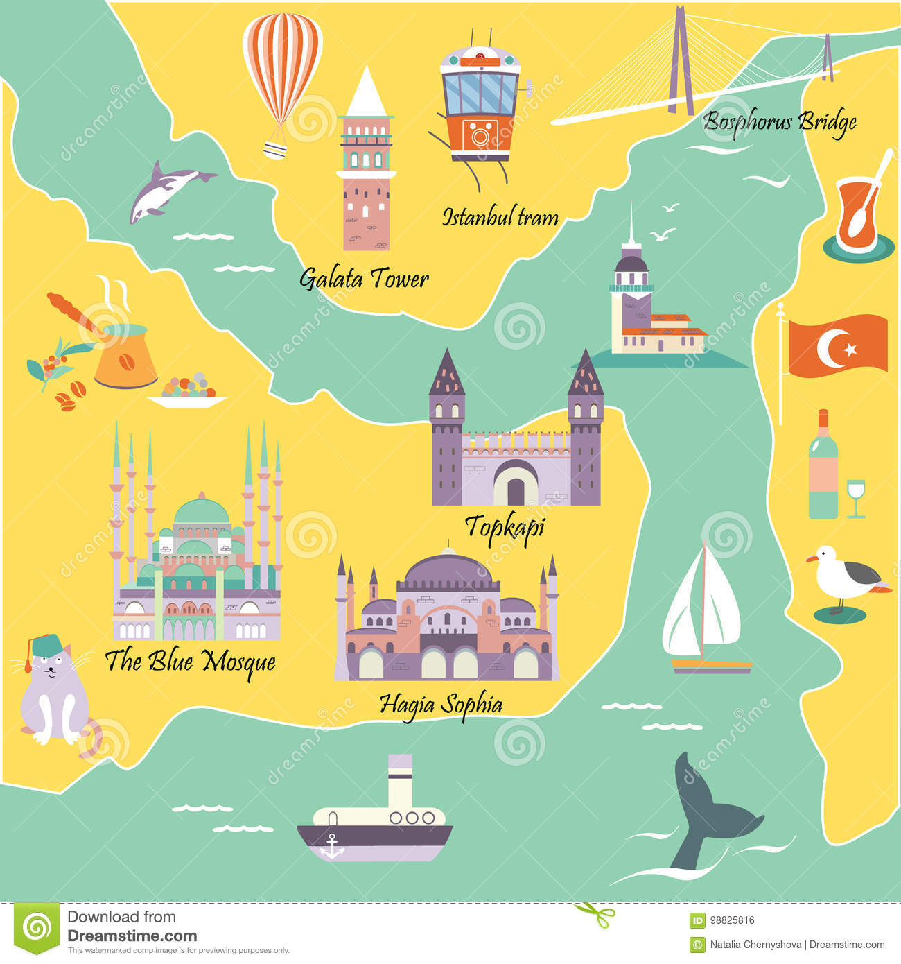 Tourist Map With Famous Destinations And Landmarks Of Istanbul Stock ...