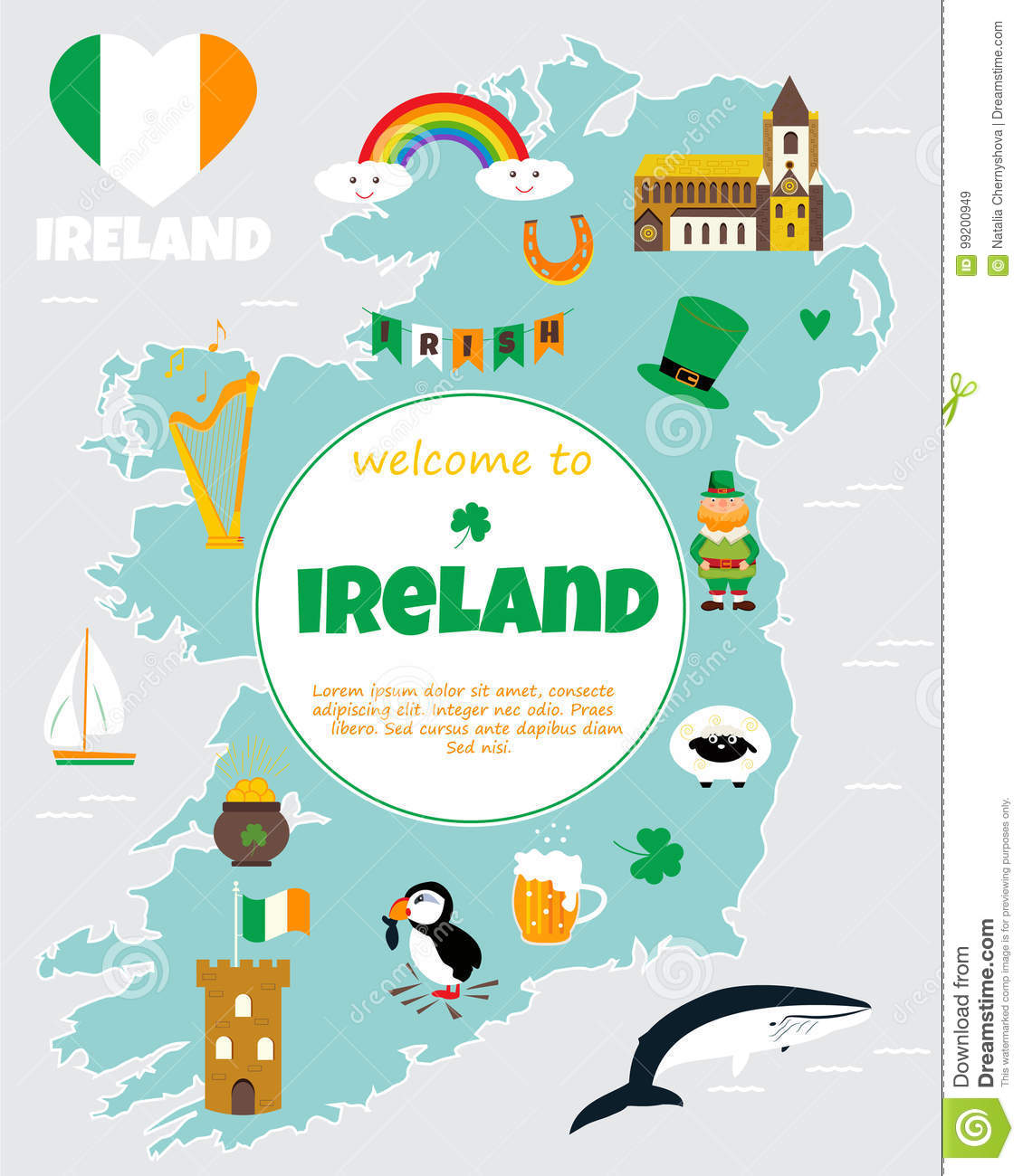 Tourist Map Of Ireland With Landmarks And Symbols Stock Vector