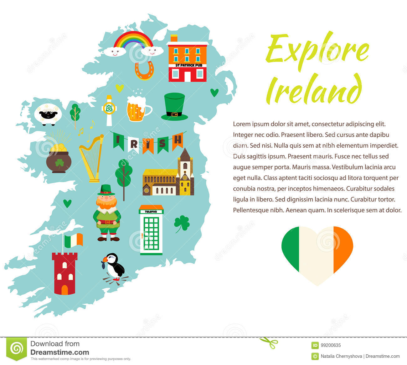 Map Of Ireland With Tourist Sites.Background Template With Tourist Map Of Ireland With Landmarks