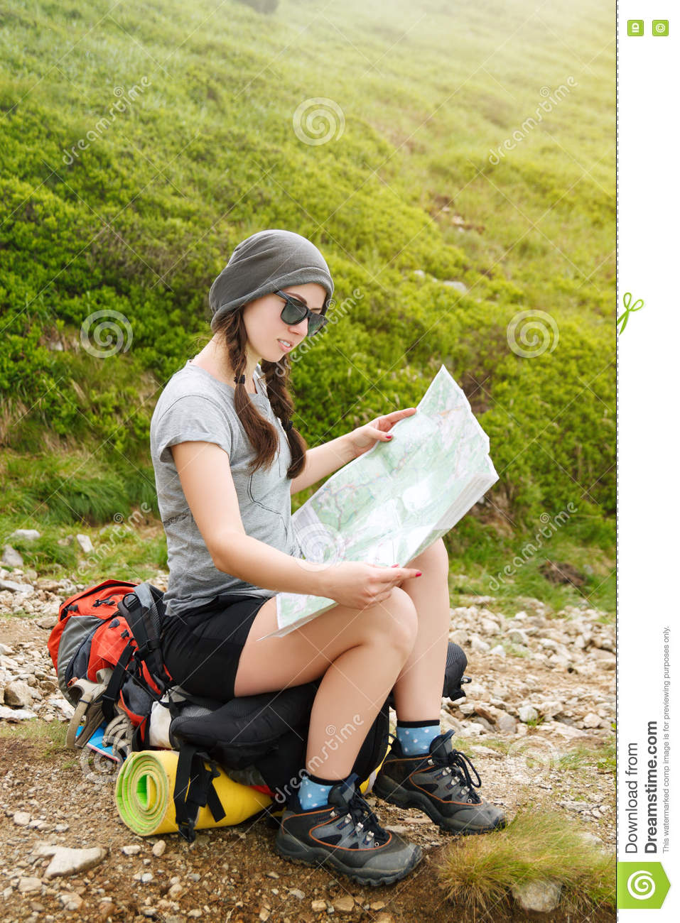 Tourist In Nature Read The Map Stock Photo Image 77470496