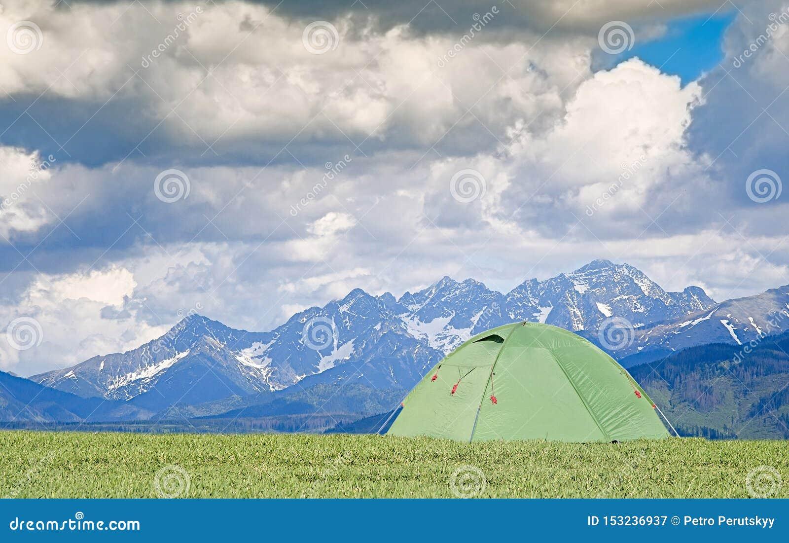 Tourist pitch a tent