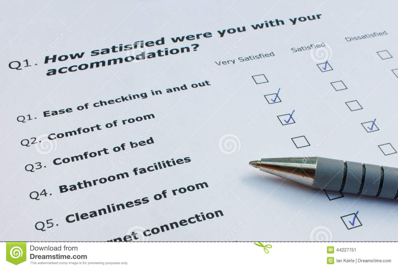 customer satisfaction questionnaire for hotel Customer satisfaction in the hotel industry of a customer satisfaction questionnaire on customer satisfaction measurement in hotel industry.