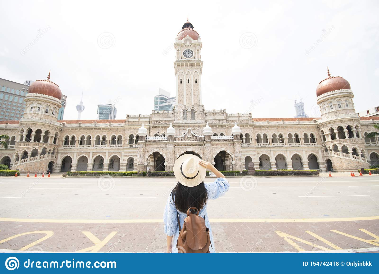 Tourist is sightseeing at The Sultan Abdul Samad building is located in front of the Merdeka Square in Jalan Raja,Kuala Lumpur