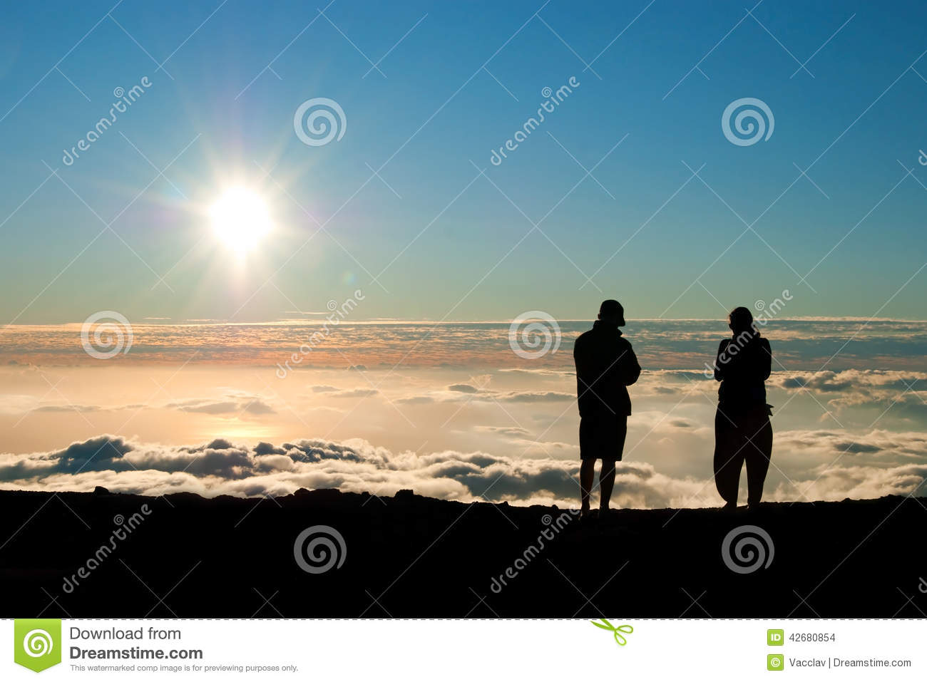 Silhouette Of Tourist With Poles In Hand. Hiker With Big ...