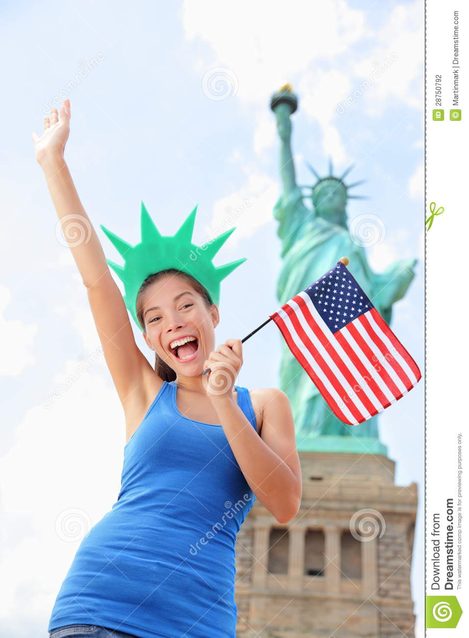 tourist at statue of liberty, new york, usa stock photo - image of