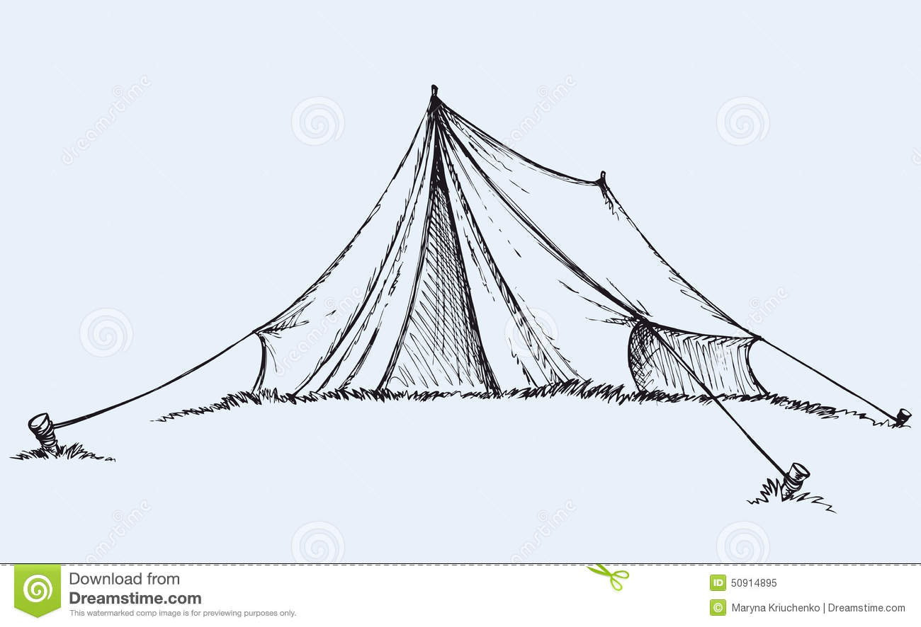 Tourist tent tarpaulin stretched a rope tied to a wooden peg in grass ...