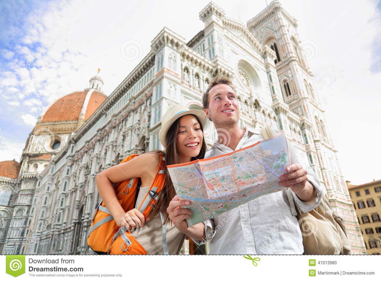 Tourist Travel Couple By Florence Cathedral Italy Stock