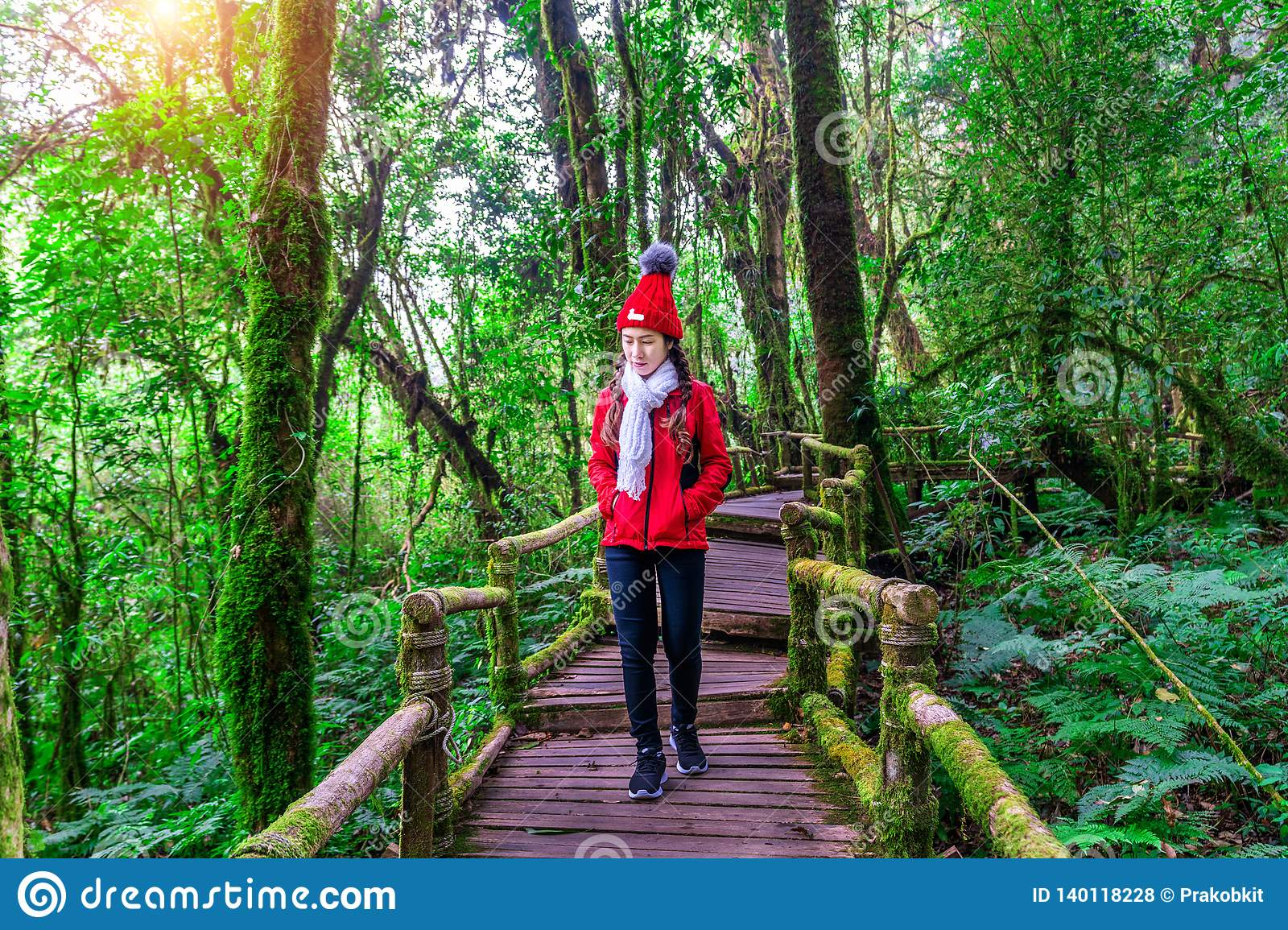 Tourist walking in Ang ka nature trail at Doi Inthanon national park , Chiang mai , Thailand.