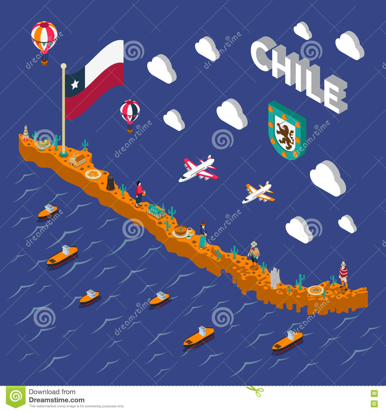 Touristic Attractions Symbols Isometric Chile Map Vector – Chile Tourist Attractions Map