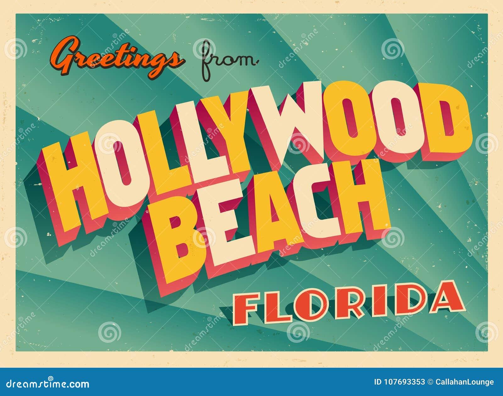 Touristic hälsningkort för tappning från den Hollywood stranden, Florida