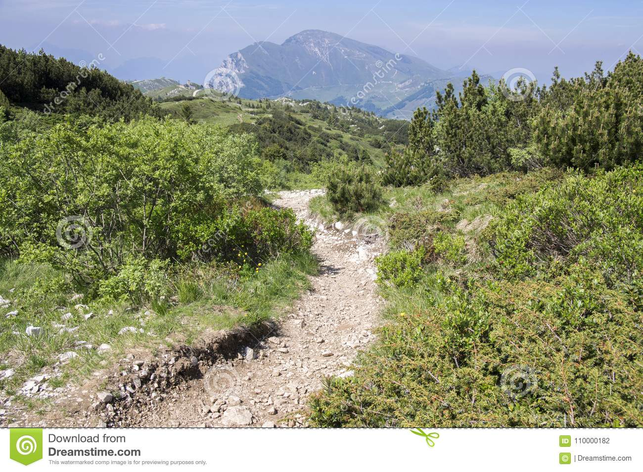 Touristic trail Alta Via del Monte Baldo, ridge way in Garda Mountains