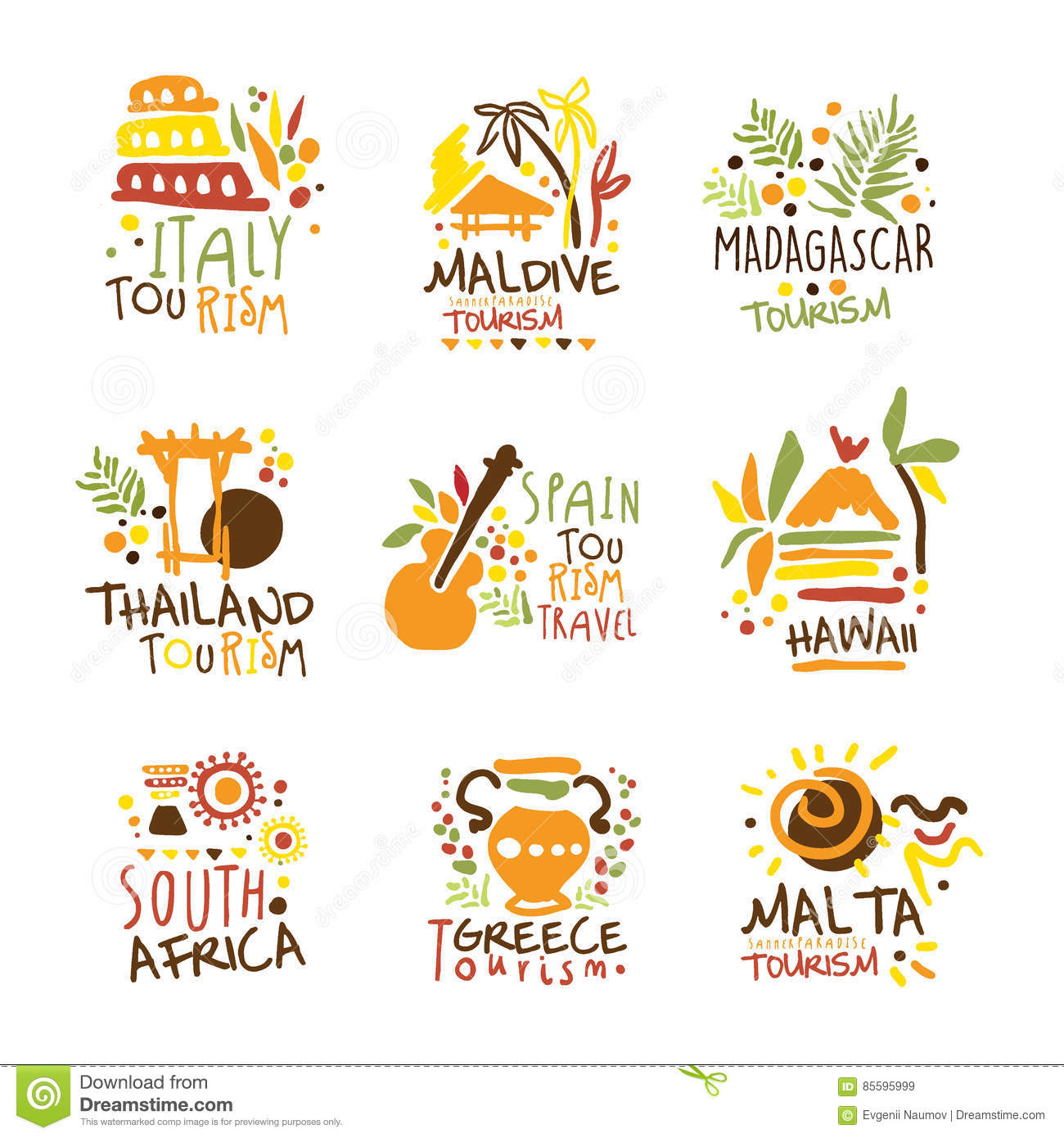 download touristic travel agency set of colorful promo sign design templates with different tourism countries and