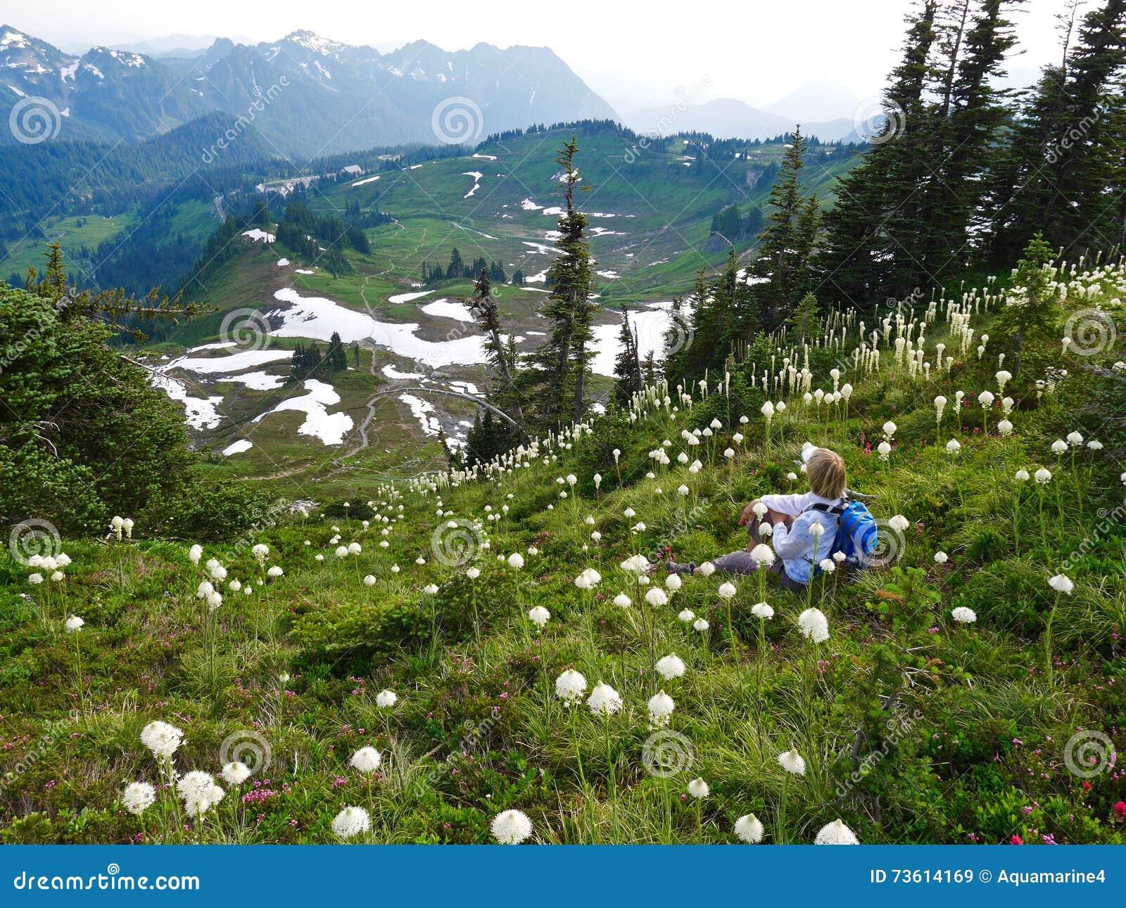 Touristisches Sitzen der Frau unter wilden Blumen mit Bergblick