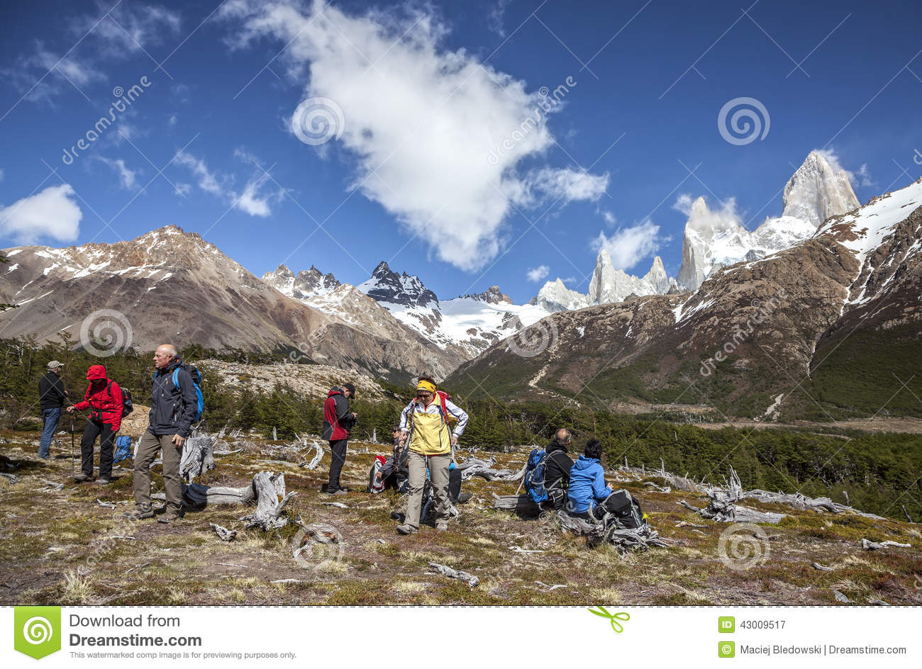 Tourists Admiring Scenic View Of Mount Fitz Roy One Of The Most Beautiful Places In Patagonia