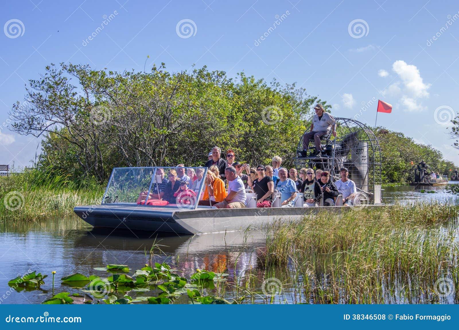 Tourists on airboat,Everglades - Miami