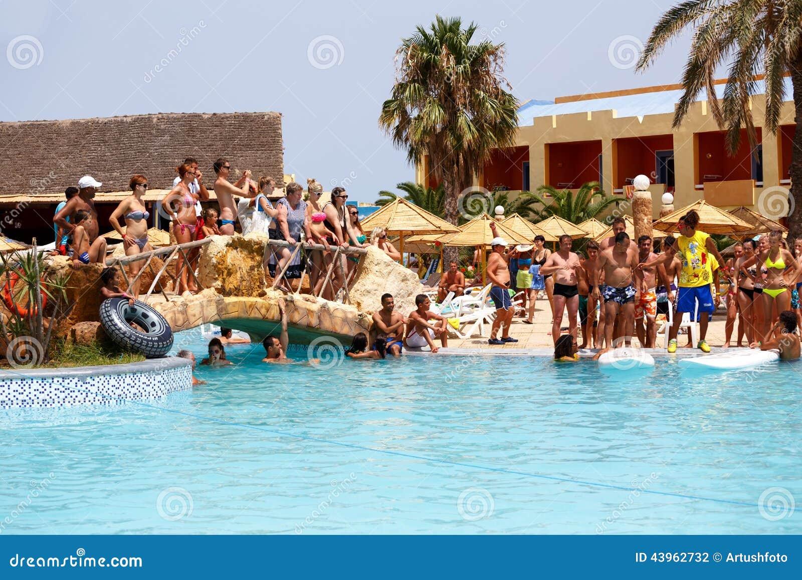 Borj Cedria Tunisia  city photos : BORJ CEDRIA, TUNISIA AUGUST 5: Tourists in animation competition ...
