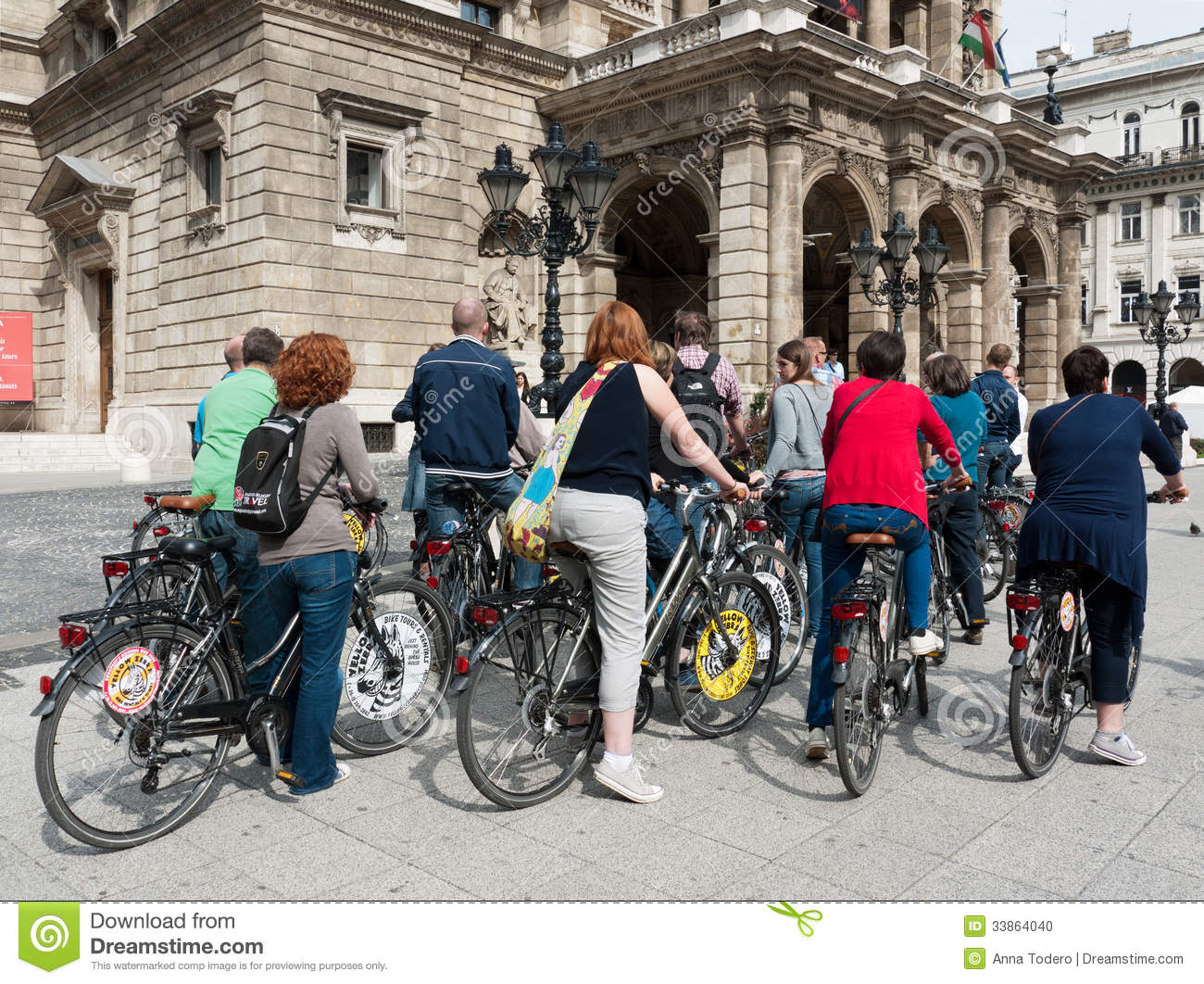 Tourists In Budapest On Bikes Editorial Image