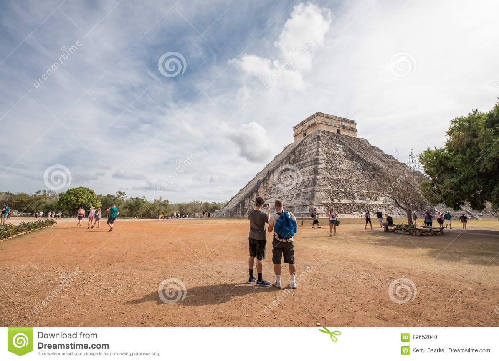 Tourists at Chichen Itza.