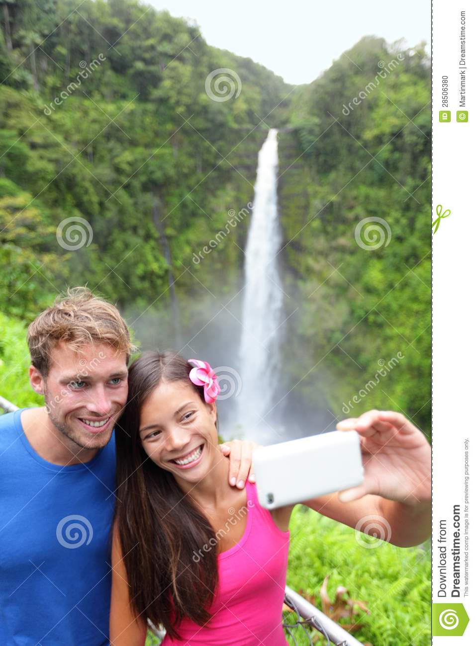 Tourists couple taking photo on Hawaii