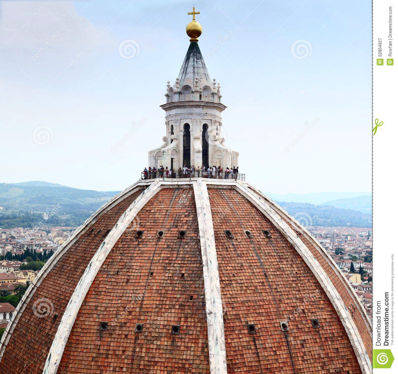 Florence Dome: Tourists On The Dome Of Florence Cathedral Editorial