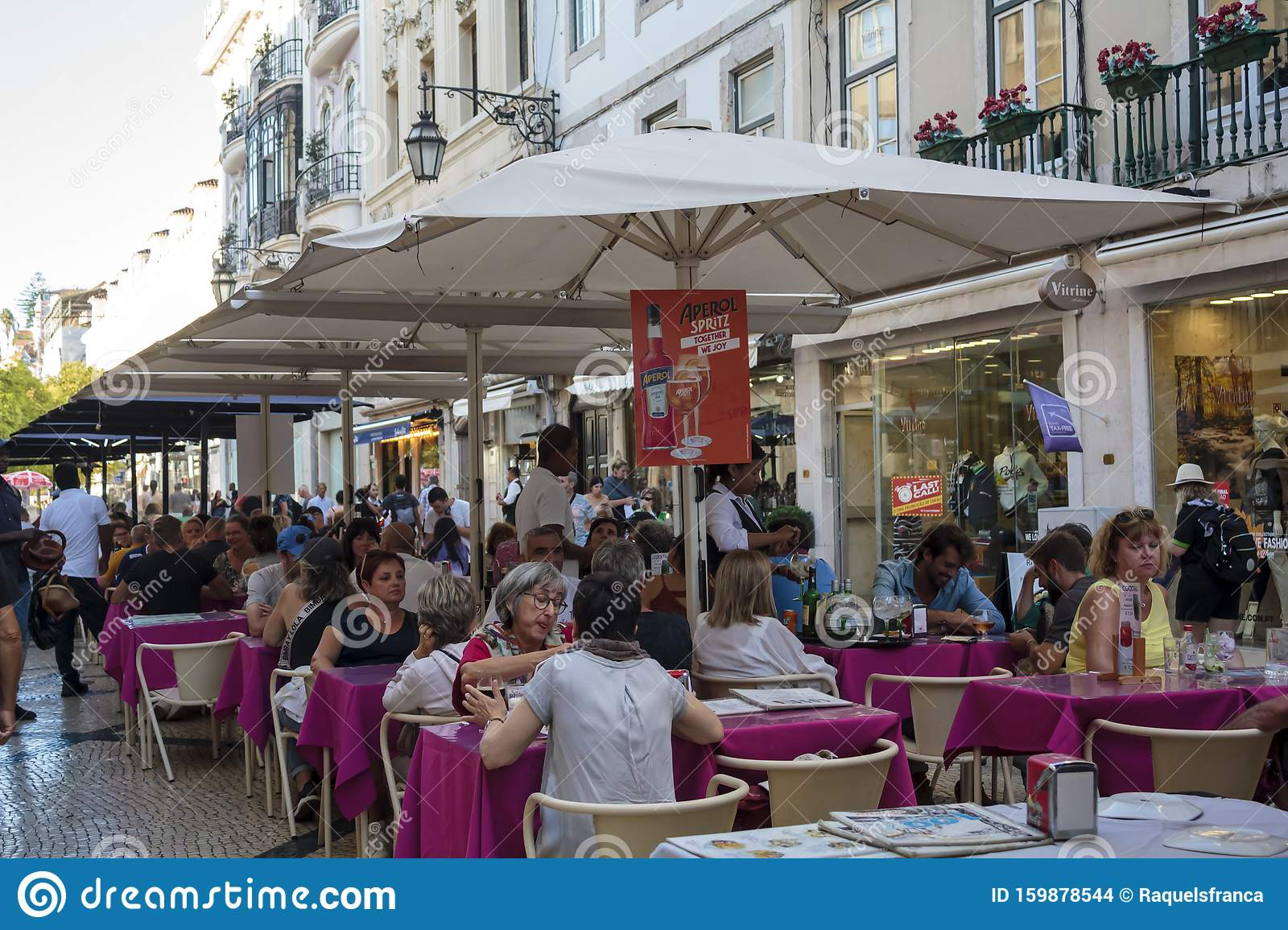 Tourists Eating In Outdoor Restaurant In Lisbon City Center Editorial Stock Image Image Of Life City 159878544