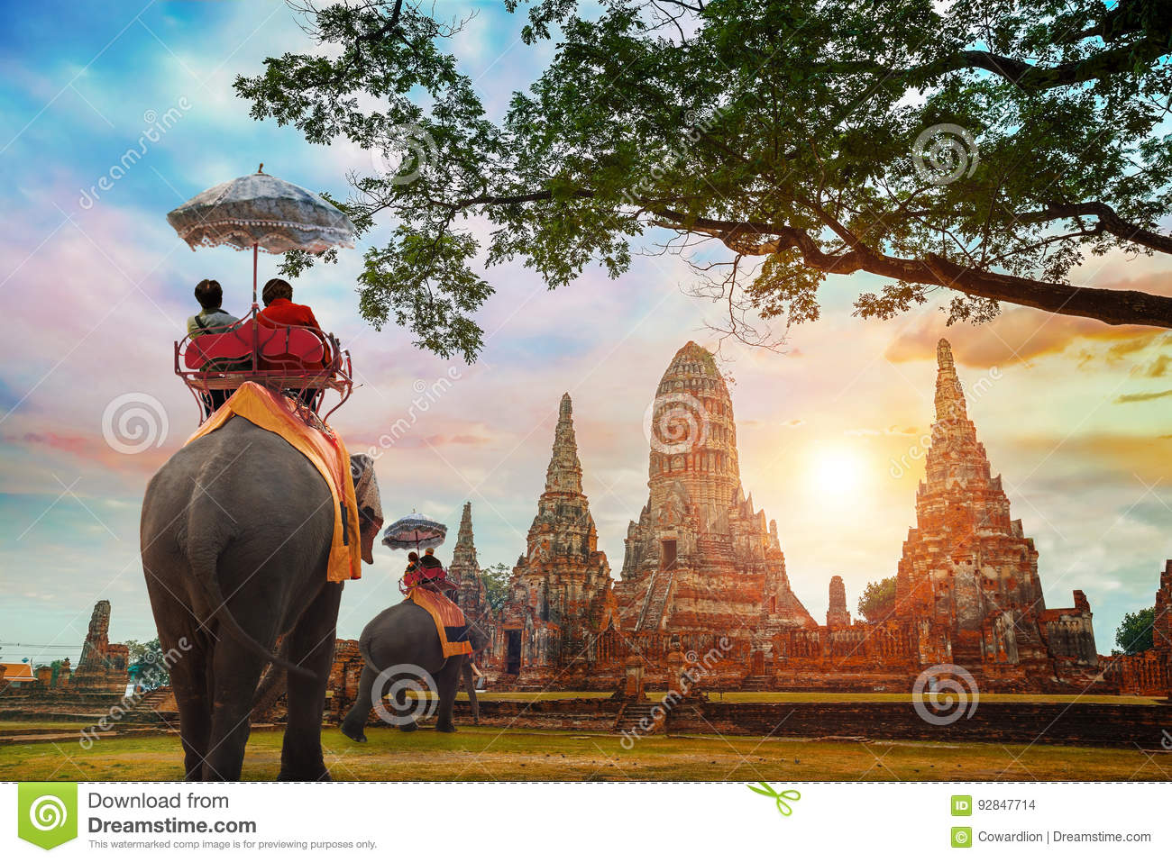 Tourists with Elephants at Wat Chaiwatthanaram temple in Ayuthaya Historical Park, Thailand