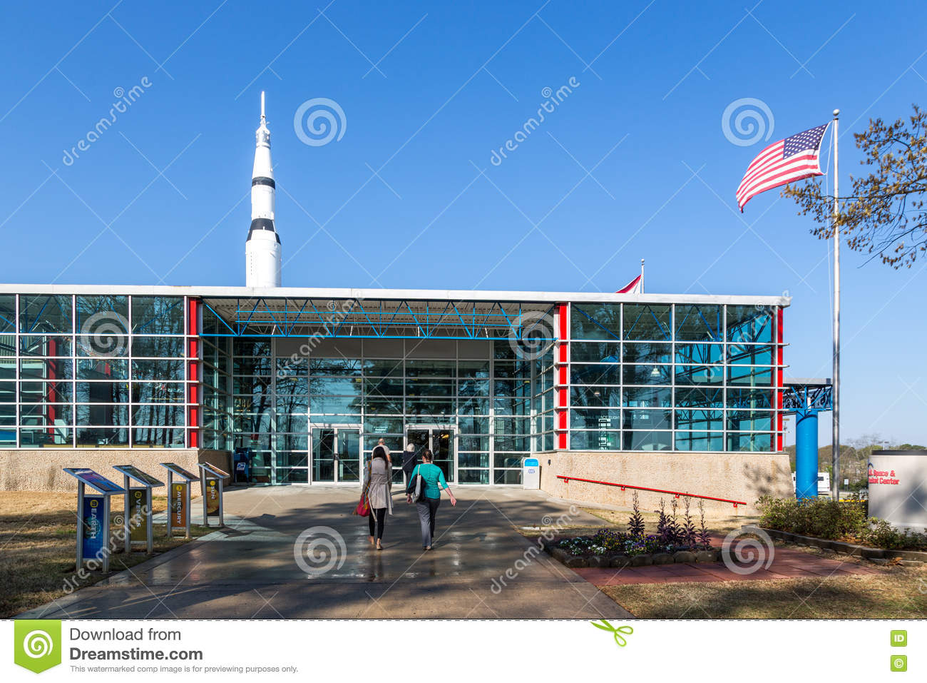 Tourists Enjoying A Blue Sky Day At The Marshall Space ...