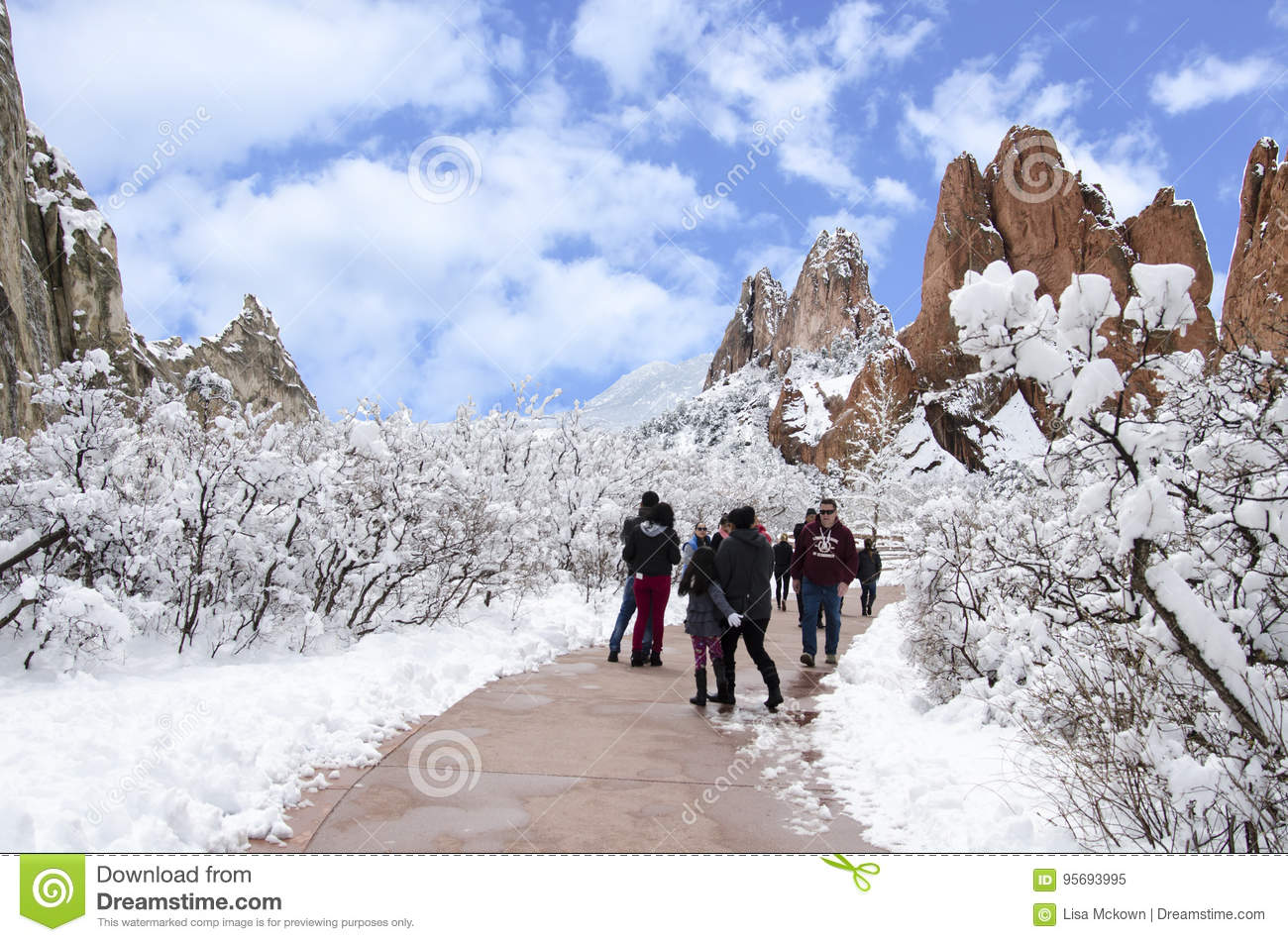 Tourists In The Garden Of The Gods Park In Winter Editorial