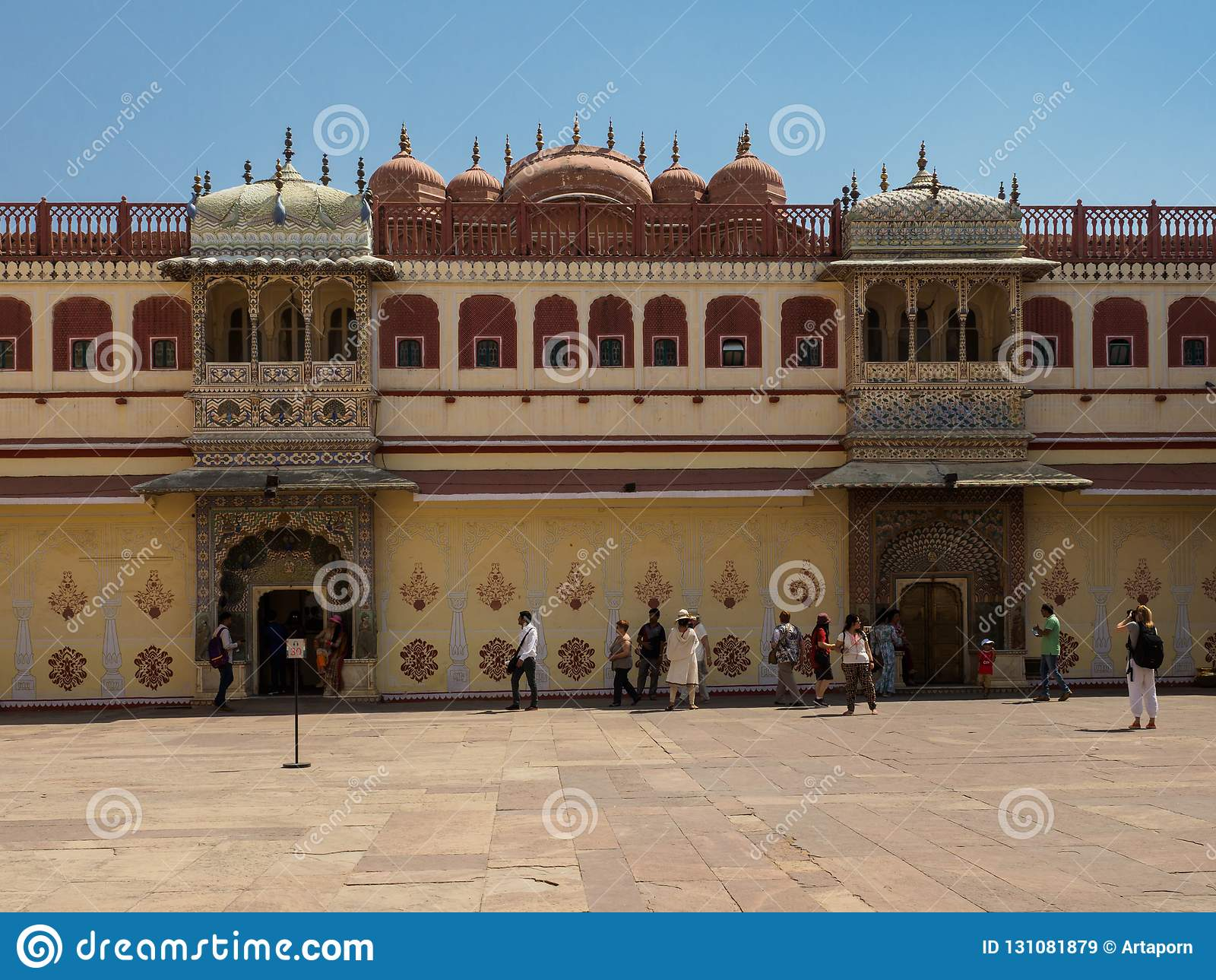 Tourists Gathering Visiting Inside City Palace Or Chandra Mahal