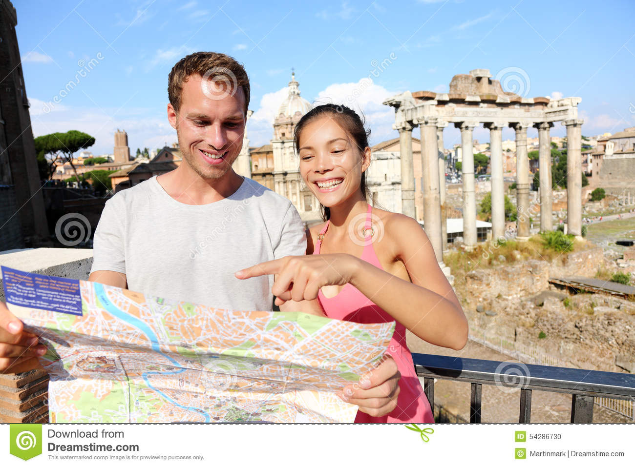 Tourists Holding Map By Roman Forum Rome Italy Stock Photo - Rome map download