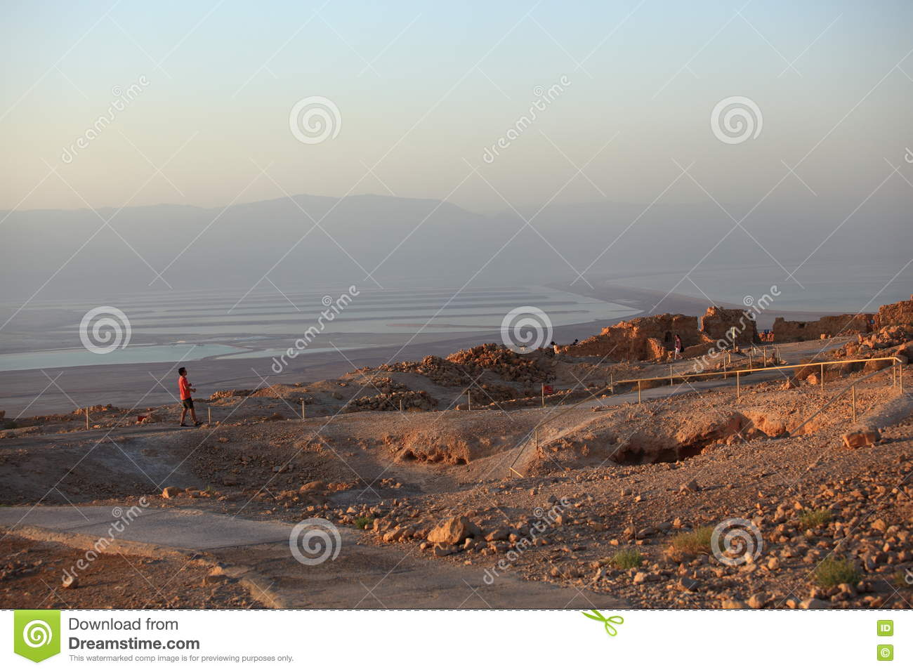 Download Tourists In Masada Looking At Dead Sea Editorial Photo - Image of hike, ancient: 74693101