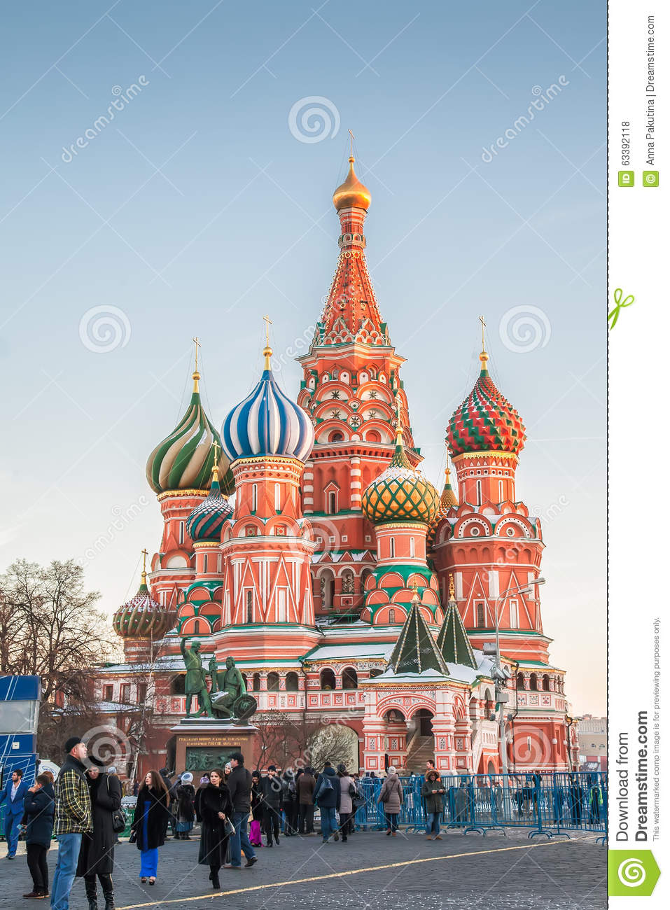Tourists Near Saint Basil\u0027s Cathedral On Red Square, Moscow ...