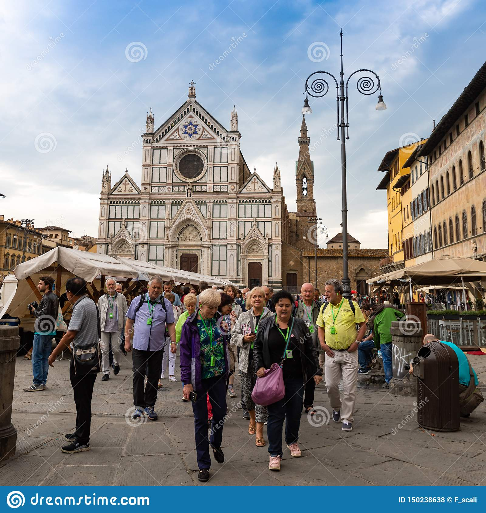Tourists on Piazza di Santa Croce in Firenze