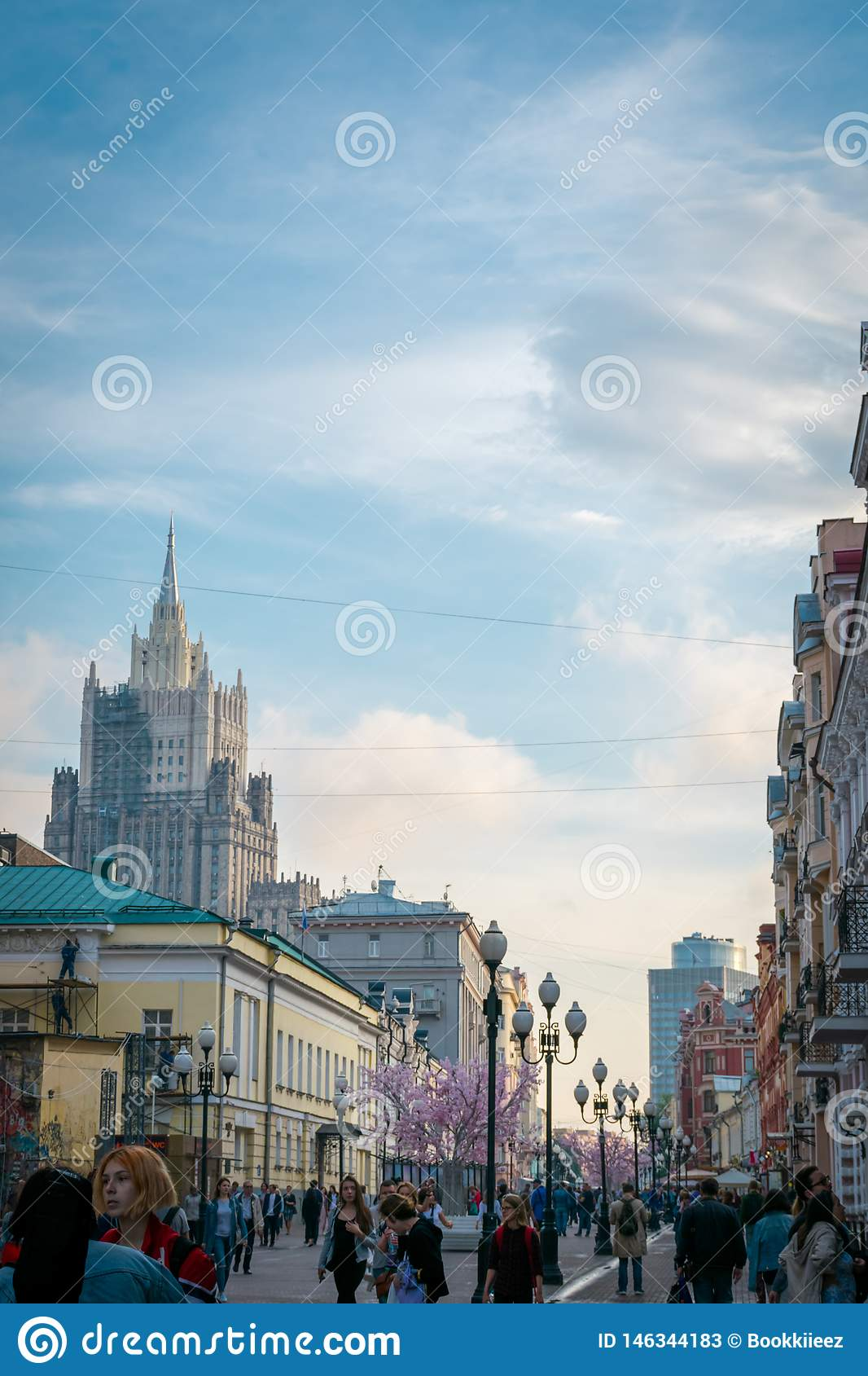 Arbat street, one of the main tourist attractions of Moscow, Russia.