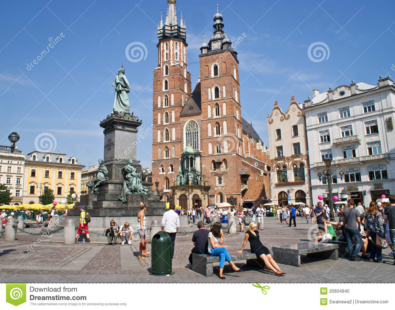 Tourists On The Square Market In Krakow, Poland Editorial