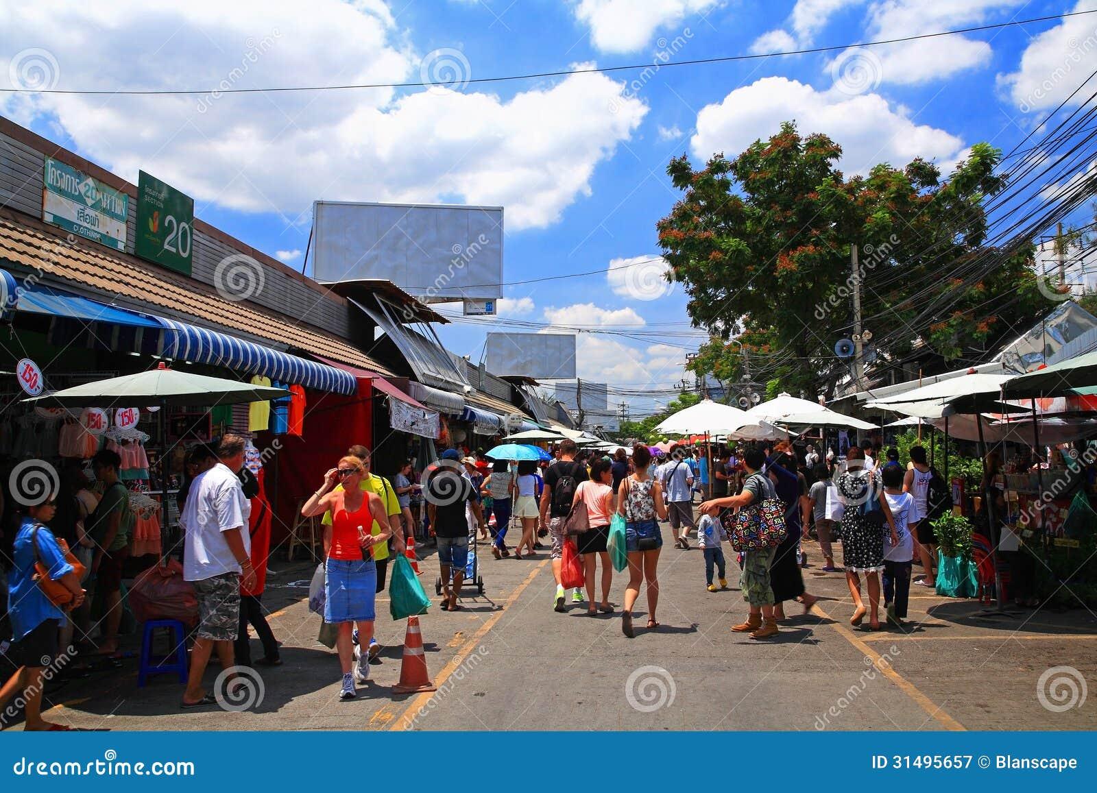 Tourists Visit Chatuchak Weekend Shopping Market In ...
