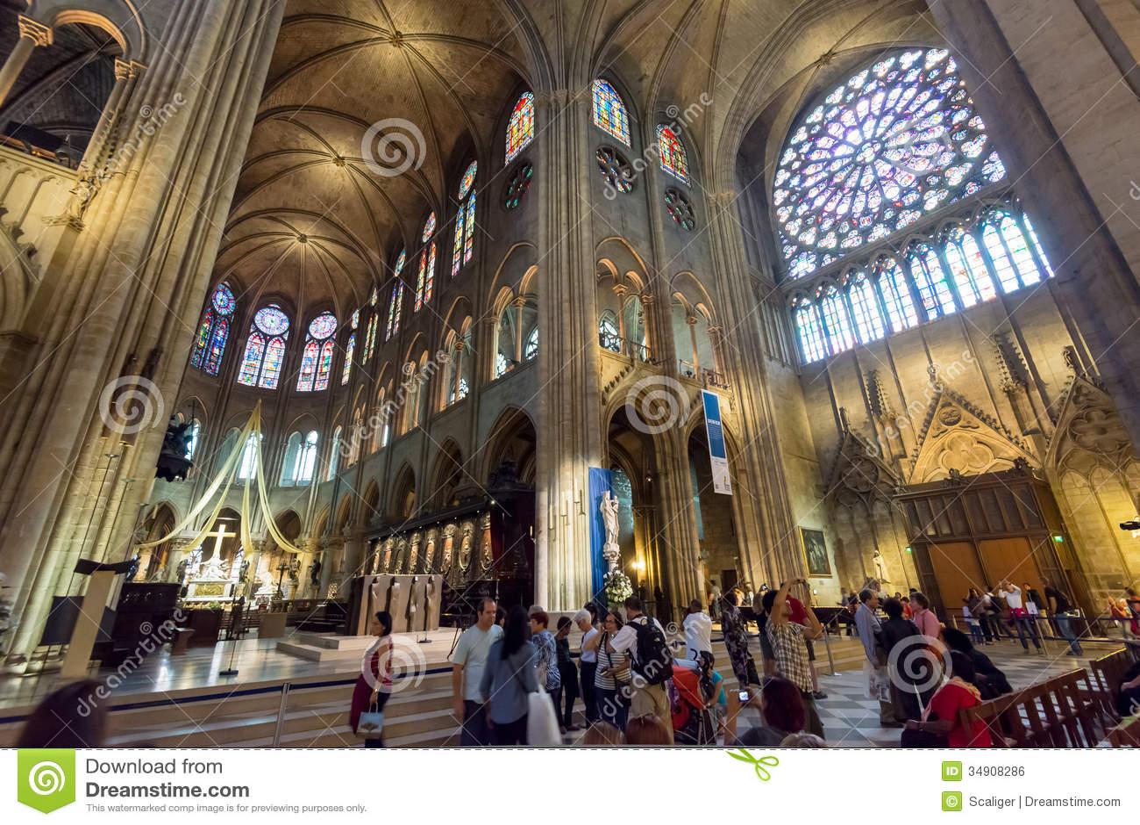 Tourists Visiting The Notre Dame De Paris Editorial Photo