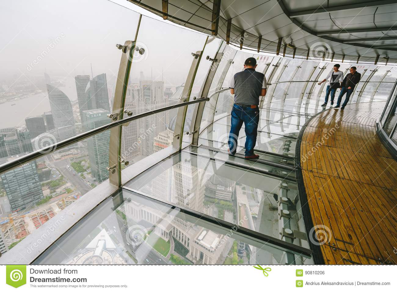 Tourists visiting Oriental Pearl Tower in Shanghai, China