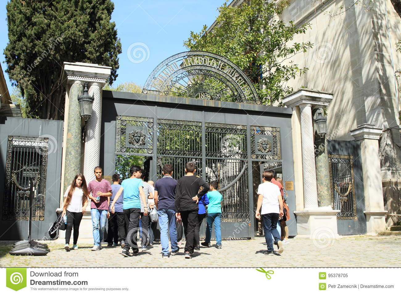 Tourists waiting in front of entrance to museum in Istanbul