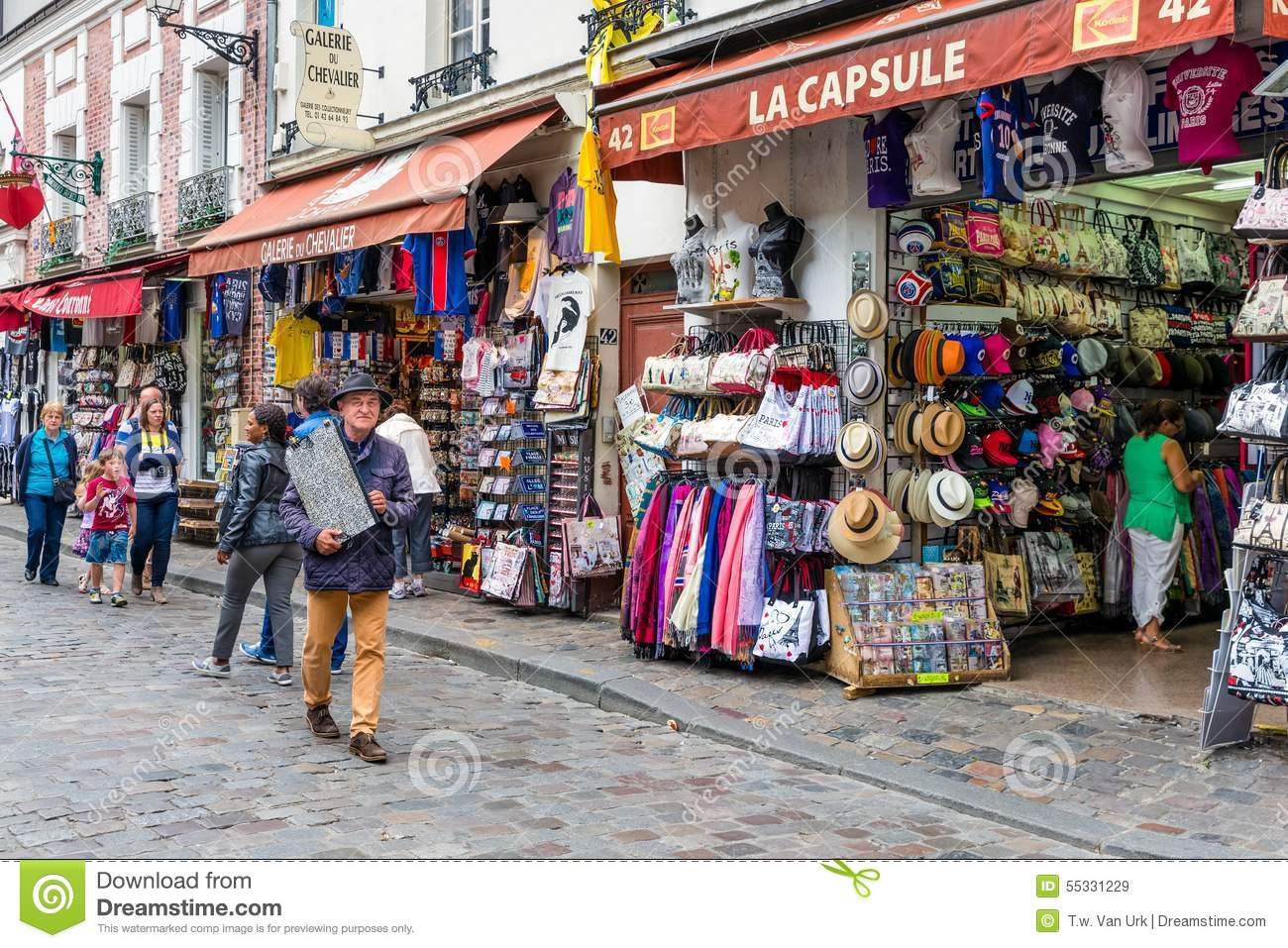 Tourists Walking Near The Gift Shops Of Montmartre Paris France Editorial Stock Image Image