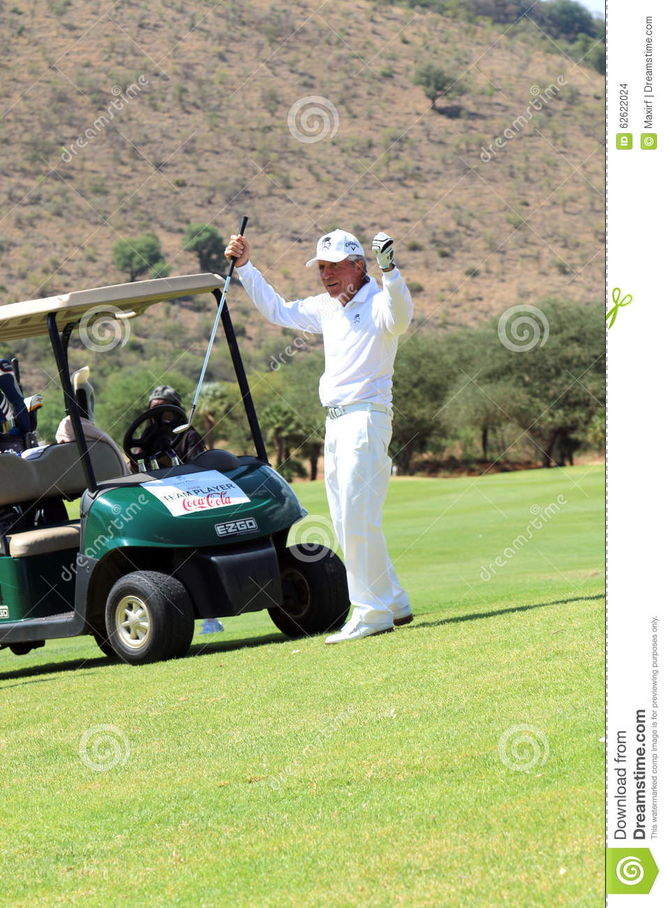 Tournament presenter and grand master Gary Player after the perfect drop shop at the 18th on November 2015 in South Africa