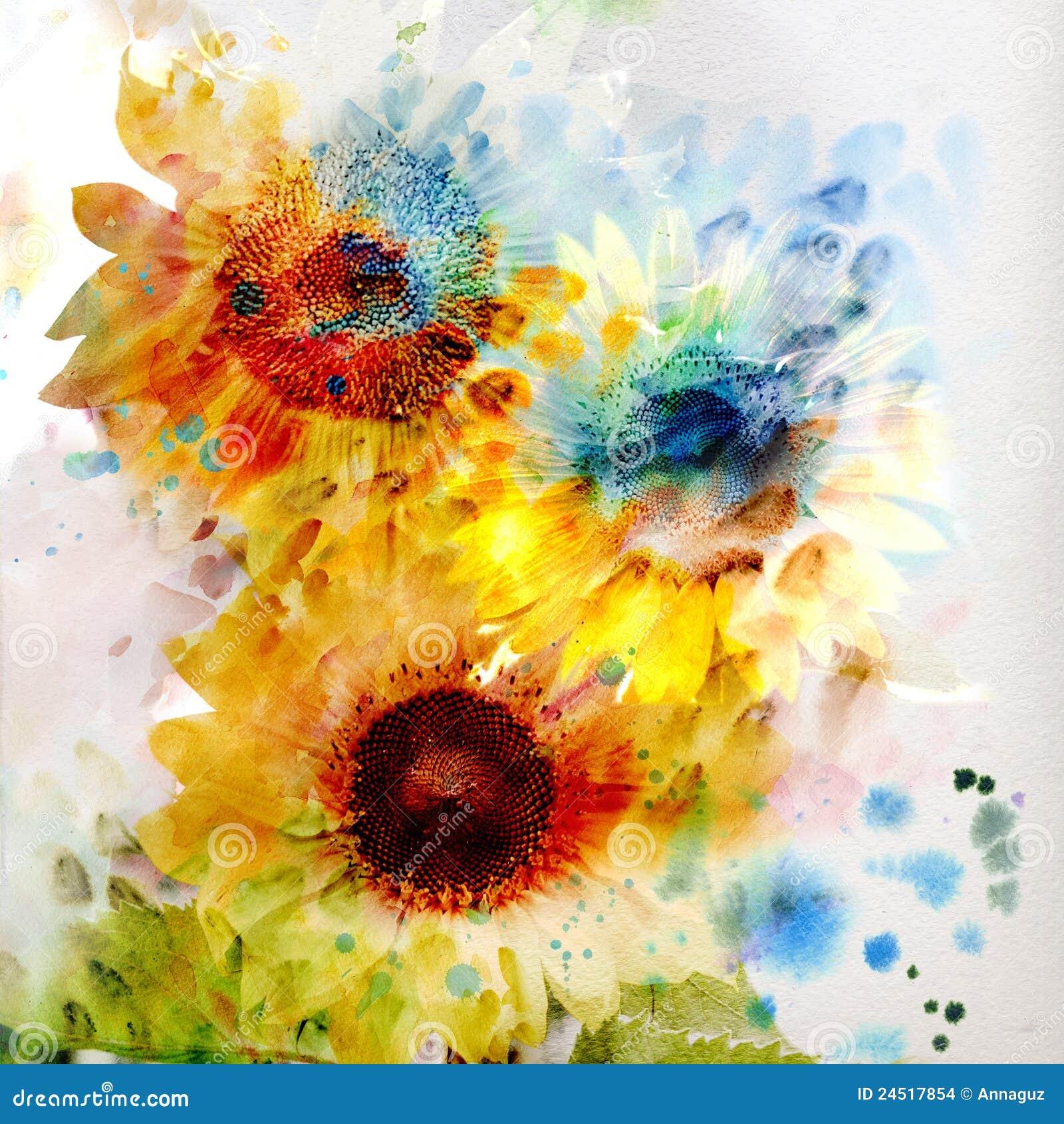 Tournesols floraux d aquarelle de fond