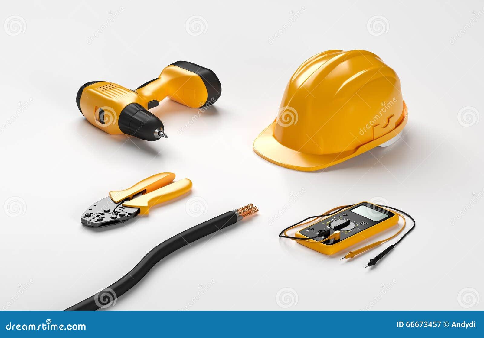 Tournevis électrique, casque, pinces de rabattement