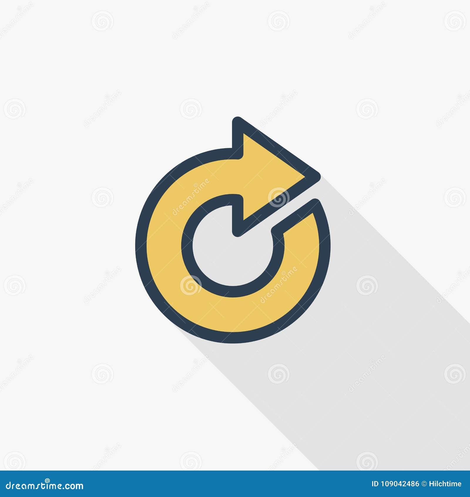 Tournez la flèche, ligne mince icône plate de mise à jour de couleur Symbole linéaire de vecteur Longue conception colorée d ombr