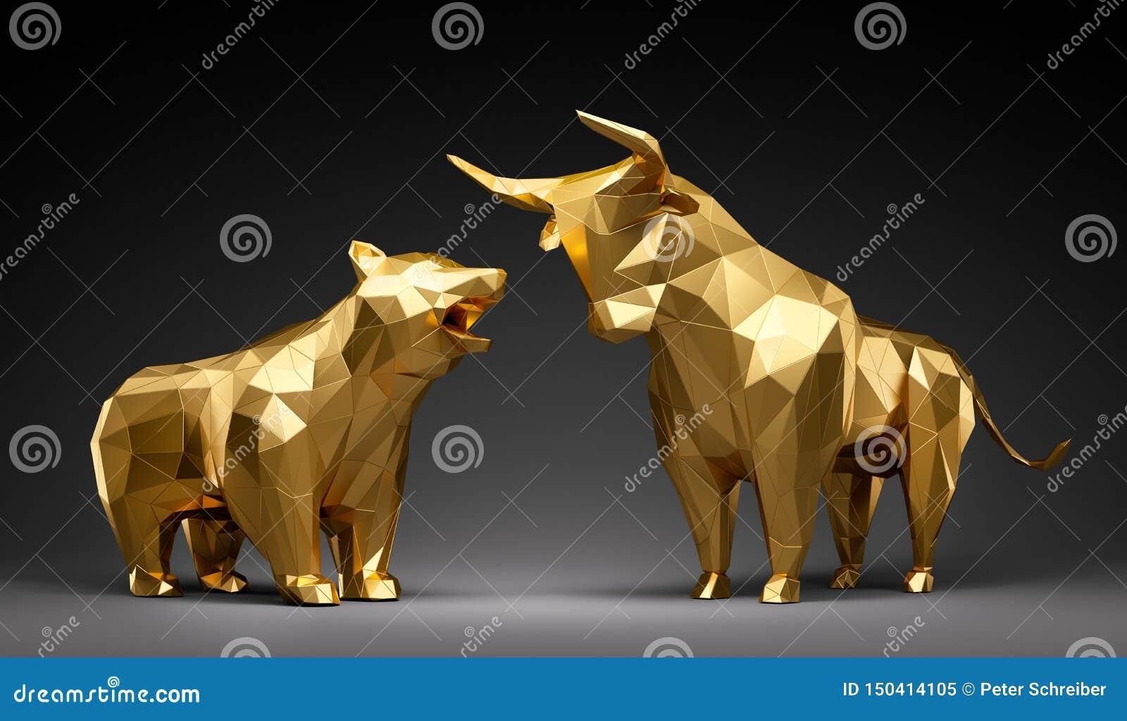 Touro e urso dourados