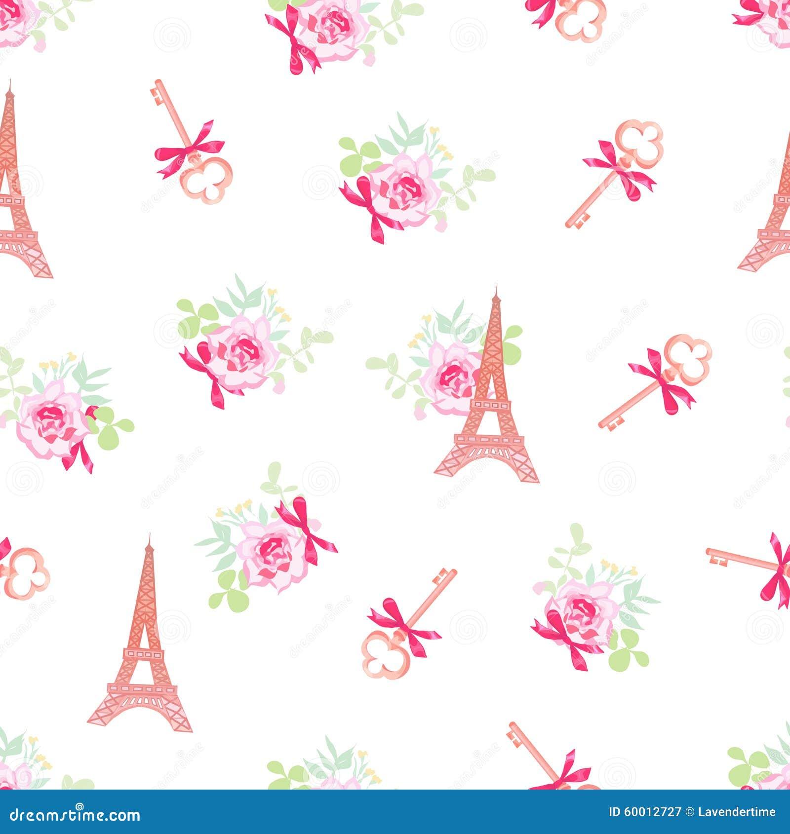 Tours Eiffel mignons et modèle sans couture floral de vecteur de clés