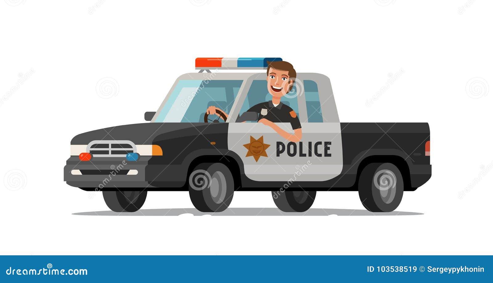 Tours Heureux De Sherif En Voiture Camion Pick Up De Police