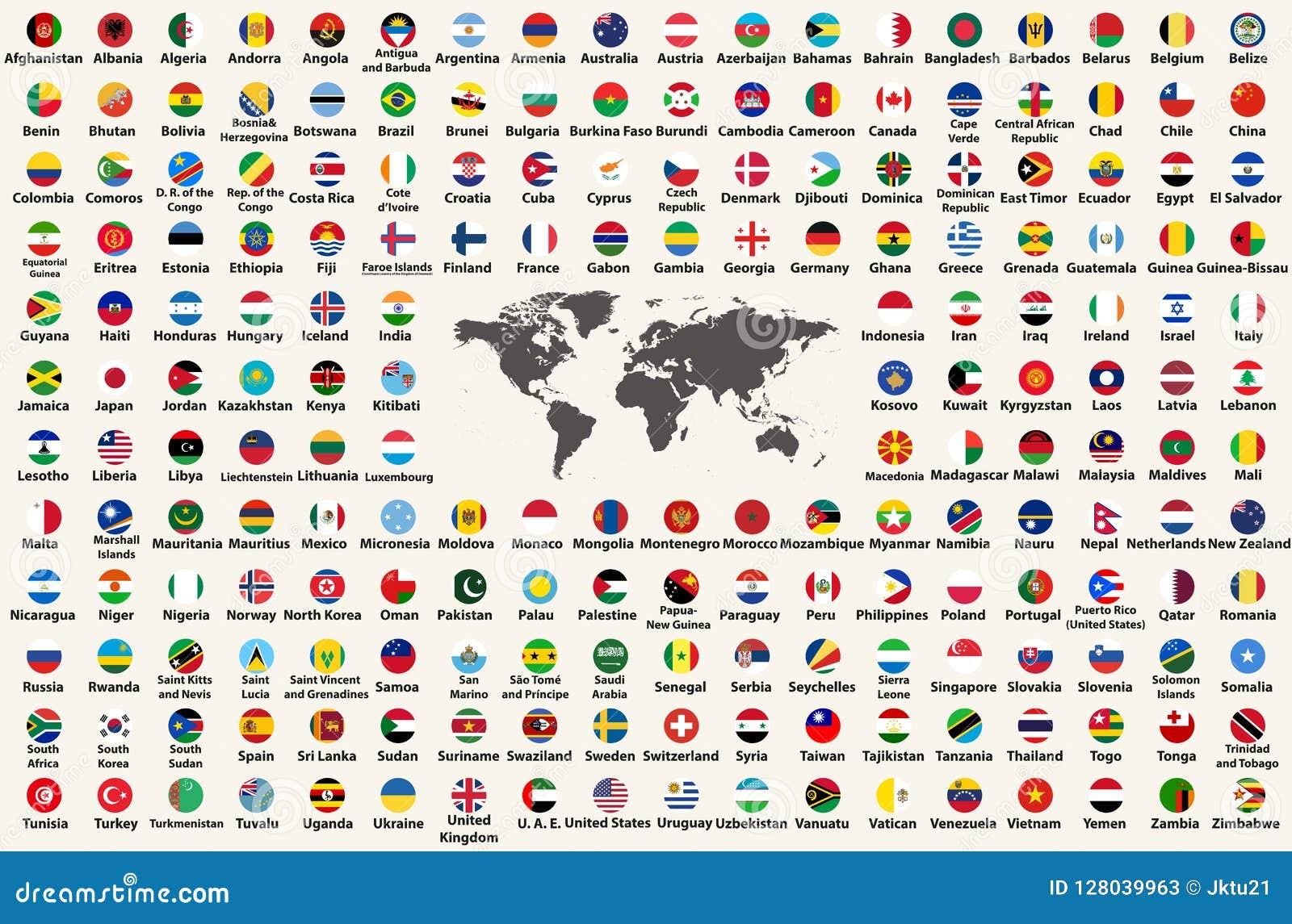 Tous les drapeaux de pays du monde dans en forme de projet circulaire, disposé dans l ordre alphabétique, avec des couleurs origi