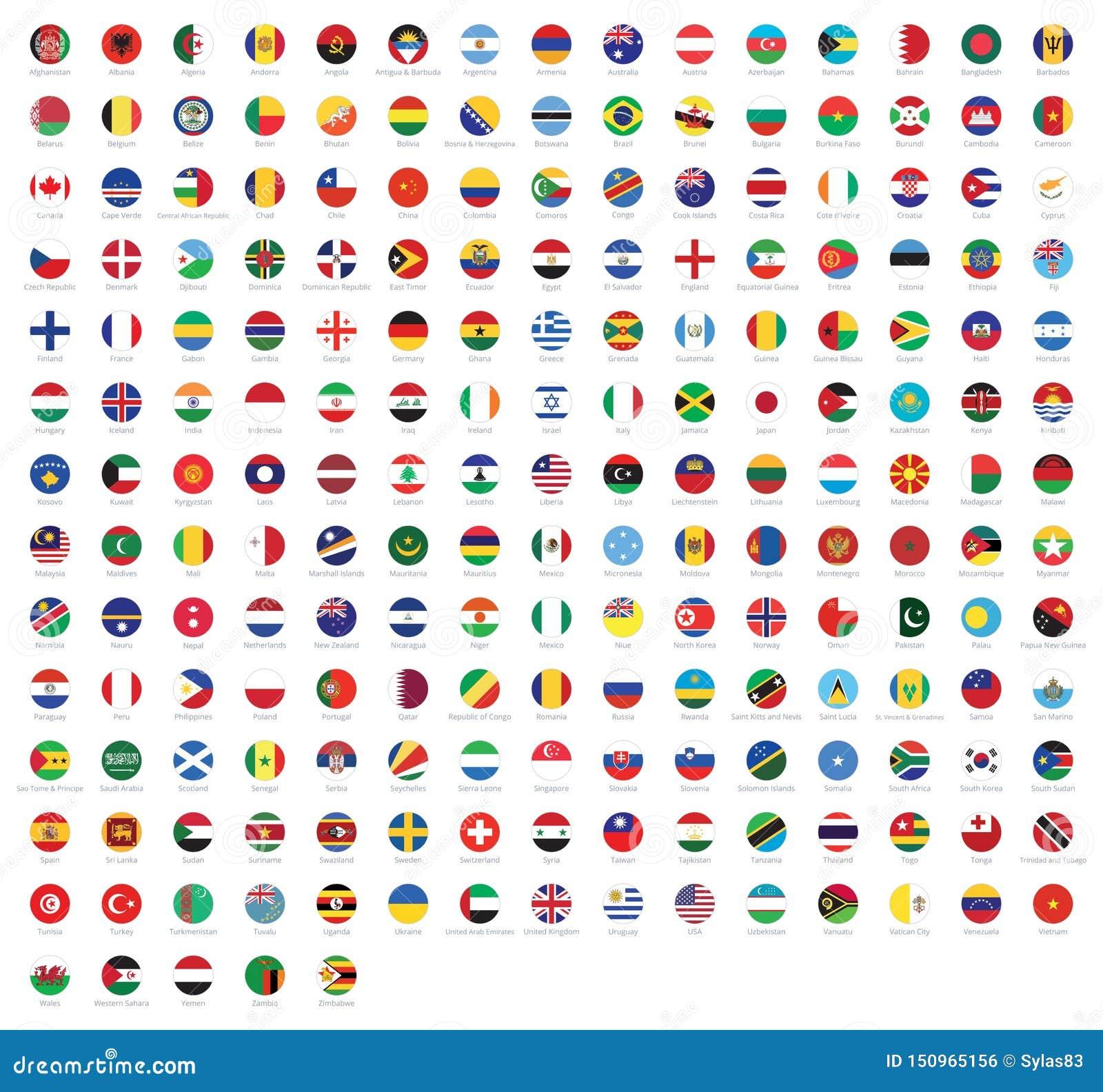 Tous les drapeaux nationaux du monde avec des noms Drapeaux arrondis, conception circulaire Drapeau de haute qualité de vecteur d
